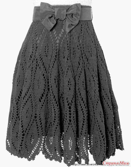 Crochet gray skirt - has graphs