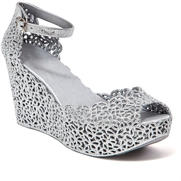 Chic Footwear Silver Fun Wedge Sandal ($25) ❤ liked on Polyvore featuring shoes, sandals, plus size, silver platform shoes, high heel shoes, silver wedge sandals, wedge sandals and silver sandals