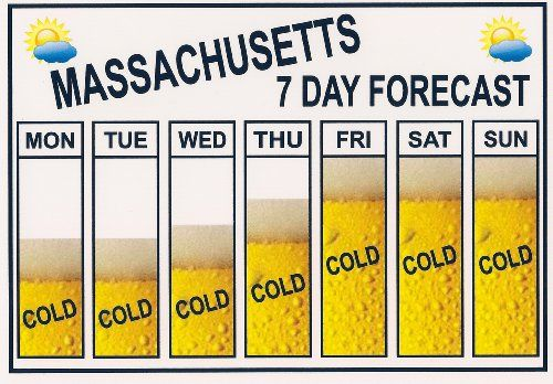 """Funny """"BEER"""" Refrigerator Magnet. """"MASSACHUSETTS"""" """"SEVEN DAY WEATHER FORECAST"""" """"FREE SHIPPING ON THIS ITEM"""" This flexible magnet is available for quick shipping. Great Item."""