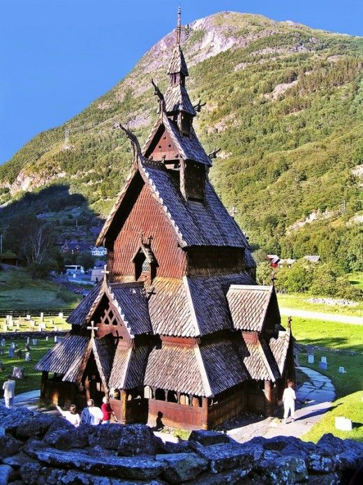 Borgund Stavkirke at Lærdal in Western Norway is the only stave church that has remained unchanged since the Middle Ages. The church was constructed from about 2000 carefully crafted pieces of wood around 1150 and was dedicated to the apostle St. Andrew.