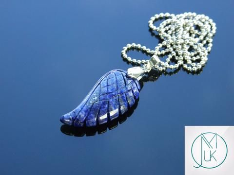 Lapis Lazuli Gemstone Angel Wing Pendant Necklace