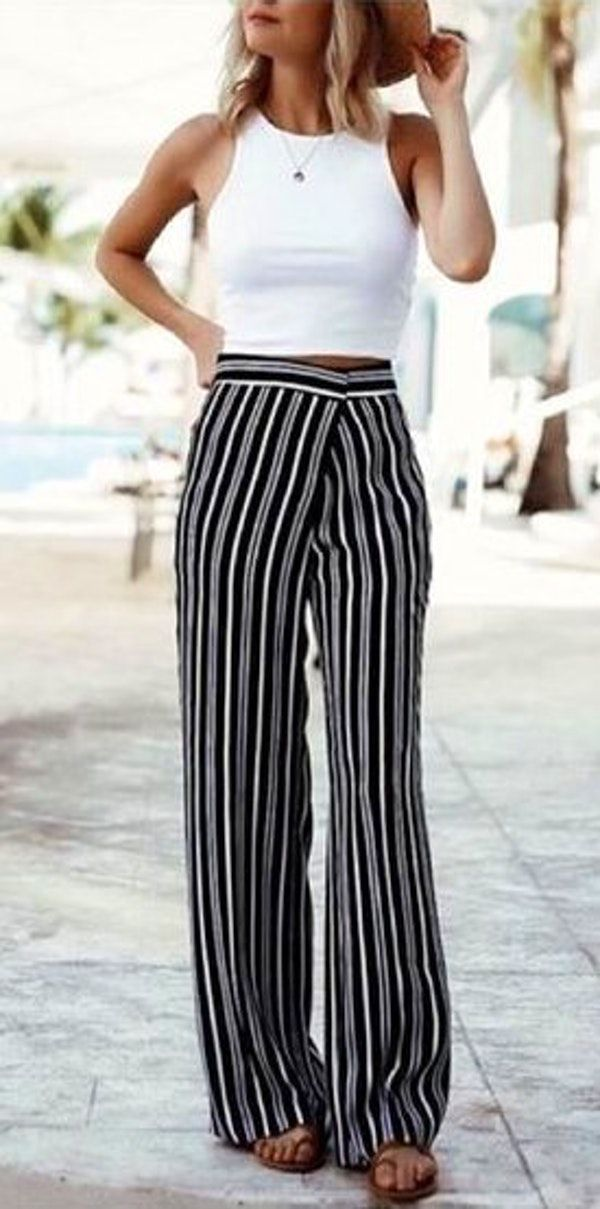 dca9c36f1a55b summer outfits Crop Top And Wide Leg Pants