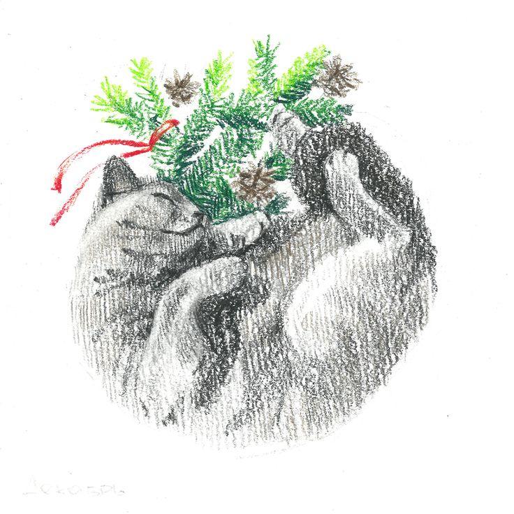 gray cat,sleep, fir-tree,сhristmas tree,cone, winte, сolour pencils, graphic, illustration, draw, серая кошка, кошка спит клубочком, елка, шишка, новый год, зима, графика, иллюстрация, цветные карандаши.