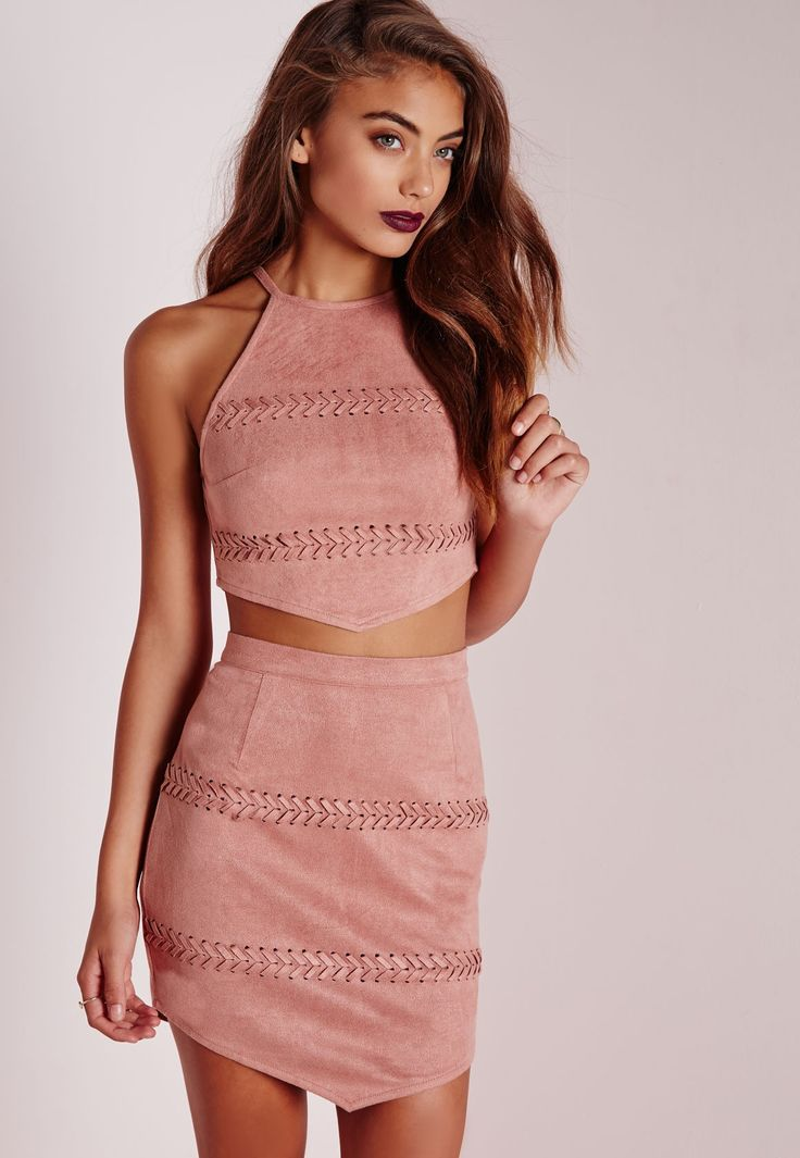 Stitched High Neck Crop Top Mauve - Cami - Tops - Missguided