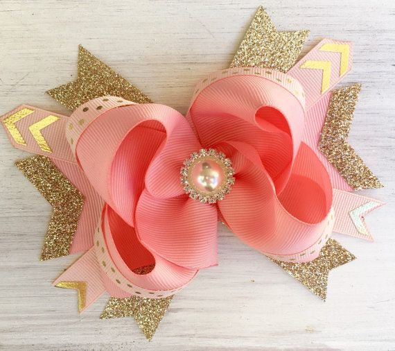 Rose Gold Bow, 1st Birthday Headband with Coral Pink and gold, Birthday Bow for…