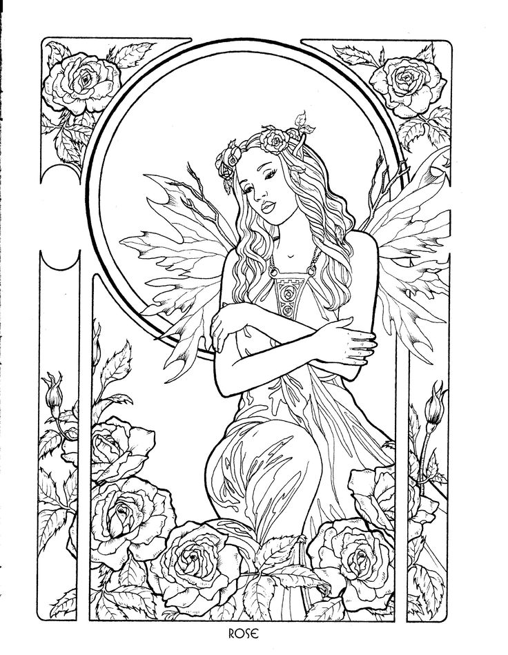 rose fairy coloring page