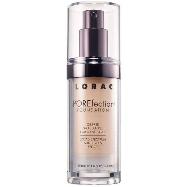 LORAC POREfection Foundation - Fair ($36) ❤ liked on Polyvore featuring beauty products, makeup, face makeup, foundation, lorac, spf foundation, paraben free foundation and lorac foundation