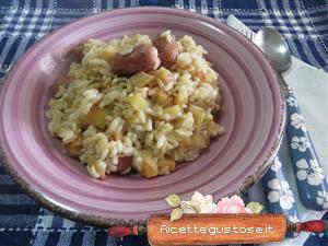 Risotto patate e wurstel