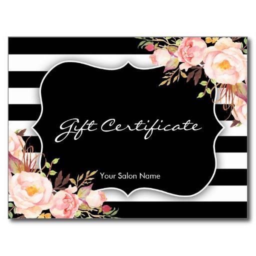 Elegant Floral Black White Stripe Salon Gift Card