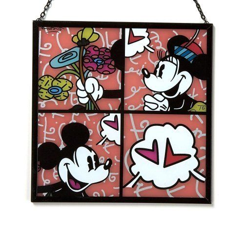 """Disney by Britto from Enesco Mickey & Minnie Suncatcher 7"""". by Enesco. $33.75. Britto:  Official Artist of the 2010 World Cup. britto:  Created 2 Collections of UN Stamps. Britto:  Panelist at World Economic Forum.. Disney by Britto captures the fun and whimsy of Disney in the iconic, bold and colorful designs of Romero Britto Britto Mickey & MinnieMouse Suncatcher.  A modern day pop culture phenomenon, Romero Britto, has created contemporary masterpieces with his vibrant ..."""