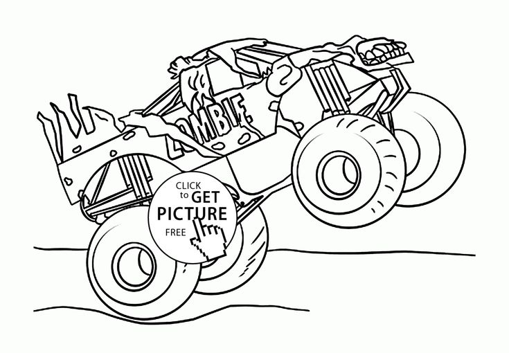 Monster Jam Truck Zombie coloring page for kids