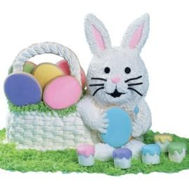 Bunny painting eggs!!! Use stand up lamb pan to make bunny.
