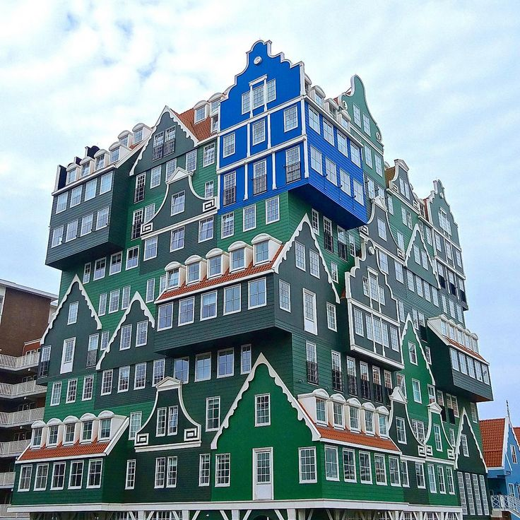 The gorgeous Inntel Hotel in Zaandam. Based on the Green Gables of the region. The blue house is a reference to the Blue House in Zaandam painted by Monet, who visited the town in 1871. Architects: Molenaar & Van Winden architecten / WAM architecten. Photo by Ken Lee