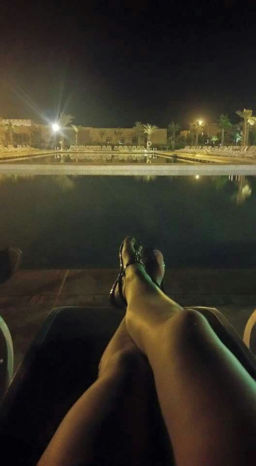 Chilling out at the pool in the evening