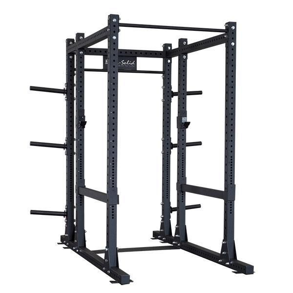 """Body-Solid Commercial Extended Power Rack SPR1000BACK  Body-Solid's new full commercial extended power rack, the SPR1000Back, features everything you want on a power rack today. The 3"""" x 3"""" 11-gauge steel mainframe gives this rack a 1000 lb weight capacity, meaning it'll hold up even through the most strenuous of workouts.  The SPR1000Back is 90"""" tall which is perfect for chin-ups, standing shoulder presses and many other exercises that are compromised on shorter, competitive power racks.…"""