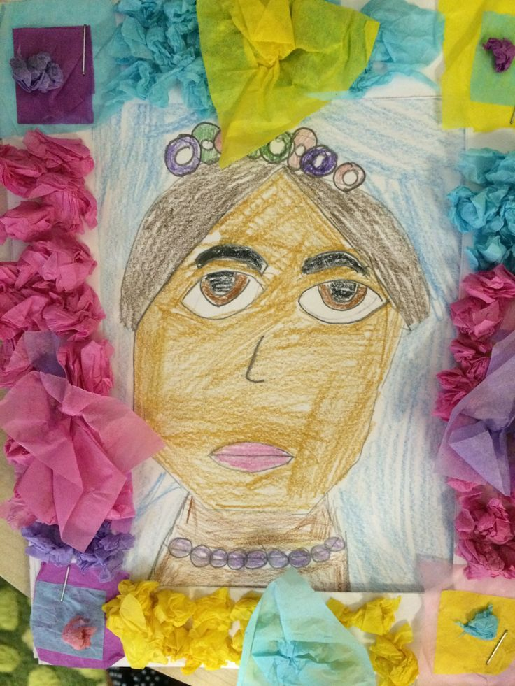 Frida Kahlo. Children followed a lesson about portraits that I found on Pinterest, but I showed the children flowery decorative frames and they added tissue paper flowers to adorn the frames.