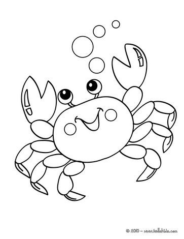 Kawaii crab coloring page