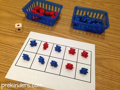 May be a little low for some kinders, but a perfect hands on math game for the ones that need more help
