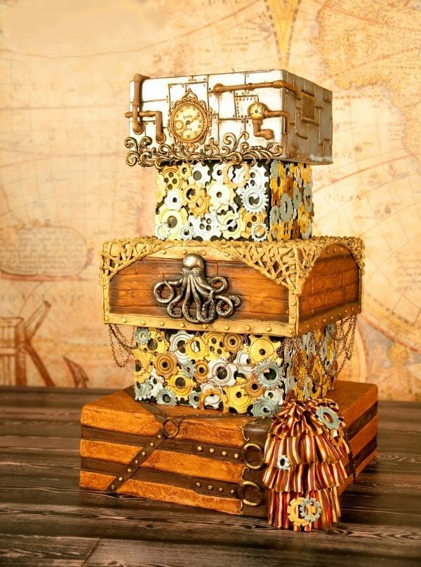 I love the gears and time aspect of Steampunk, so made a cake in that theme for fun. :)