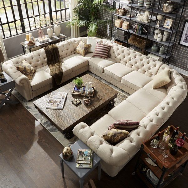 Knightsbridge Tufted Scroll Arm Chesterfield 11 Seat U Shaped Sectional By Inspire Q Artisan Livingroom Layout Living Room Sofa Cozy Living Rooms