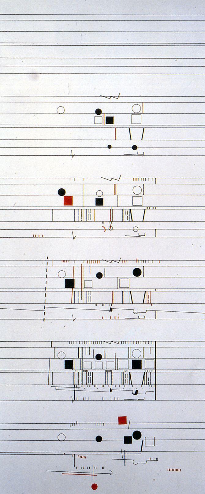 Beautiful graphic representation of a buildling: Bernard Tschumi. A+U 216 September 1988: 29 | RNDRD