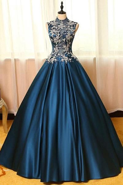 ff41af6abff0 Chic Satin High Neck Ball Gown Long Prom Dresses with Appliques TP0170- Tirdresses
