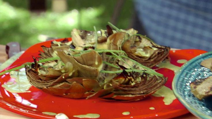 Grilled Artichokes with Green Goddess Dressing Recipe : Bobby Flay : Food Network