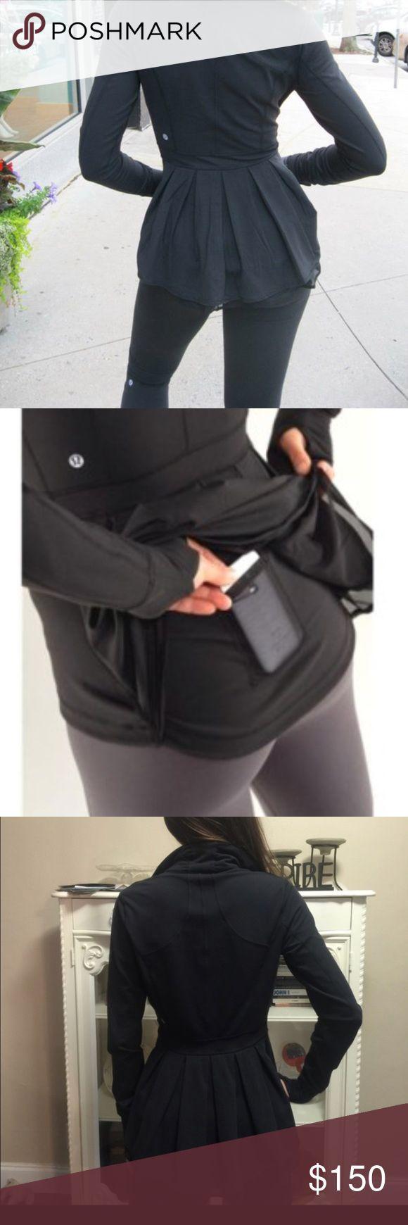 Rare Lululemon Riding Peplum Jacket Luon fabric. So gorgeous. Black peplum riding Lululemon Jacket Long ruffles. lululemon athletica Jackets & Coats
