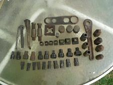 Lot of Vintage Mossberg Square Drive Sockets, Ford T-1349 wrench, Macks wheel-
