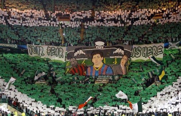 Una cartolina da Glasgow del 01.10.2013 Celtic FC v Barcellona, Green Brigade #ultras