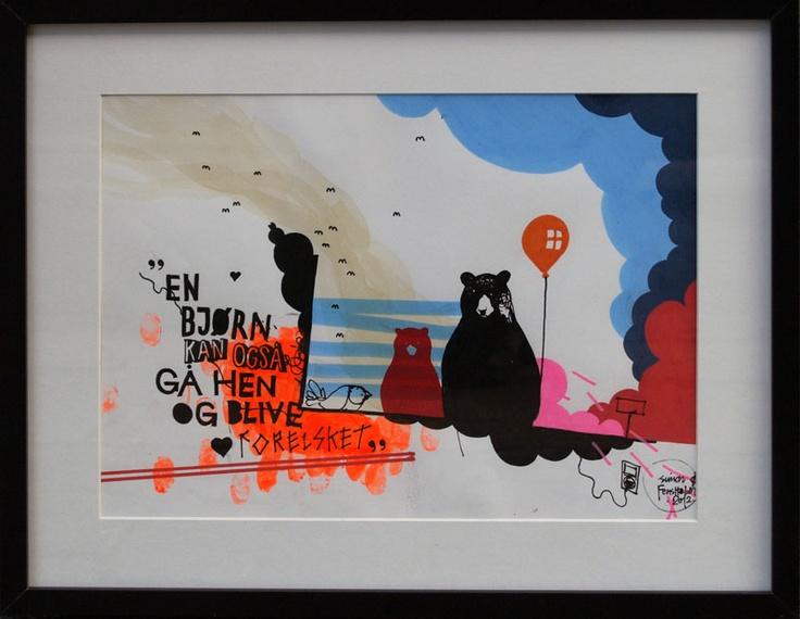 "Artist Simon Fensholm: ""En Bjørn kan også gå hen og blive forelsket"" (""A bear can also fall in love""), A3, markers and acrylics on paper."