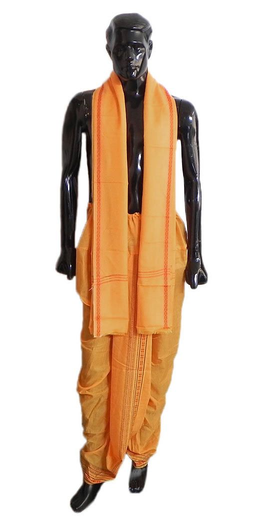 Pyjama Type Saffron Color Dhoti and Angavastram with Red Border for Performing Puja (Cotton Polyester)