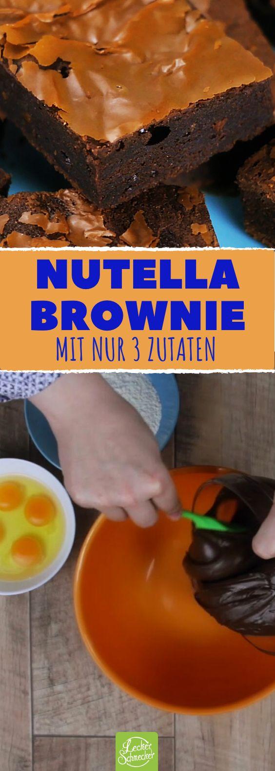 Nutella Brownies aus 3 Zutaten: Ein Kuchen Rezept, wenn es mal schnell gehen mus… – Die 5 Zutaten Küche