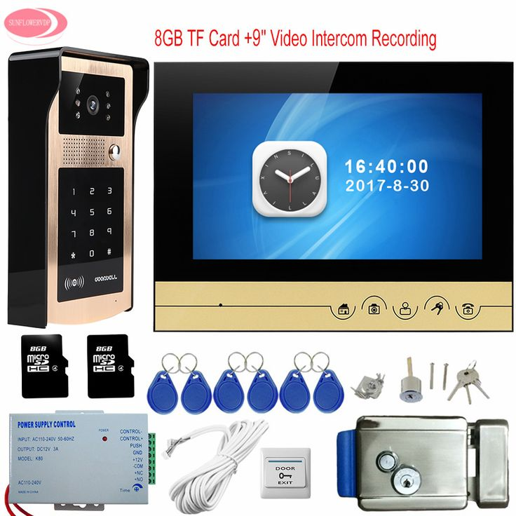 "Video Doorphones Rfid Keypad Unlock Door Phone With 8GB TF Memory Card Recording 9"" Color Monitor System Unit + Electronic Lock"