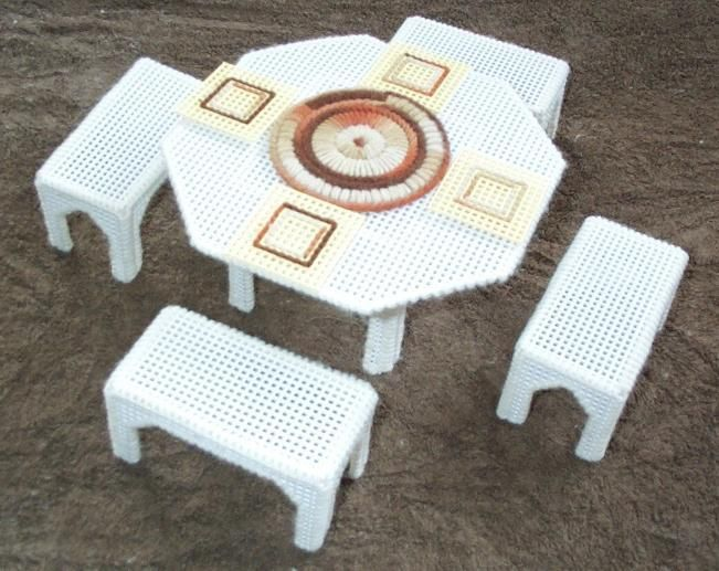 Fashion Doll Furniture Table Benches Accessories Completed Plastic Canvas Found At Oldbaloo
