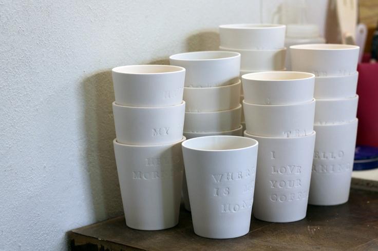 "Unfinished porcelain cups ""hello morning"" (spring/summer collection 2012 by Tereza Severýnová) www.najs.cz"