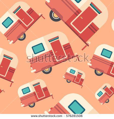 Travel trailer flat icon seamless pattern. #transportpattern #summerpatterns #vectorpattern #patterndesign #seamlesspattern
