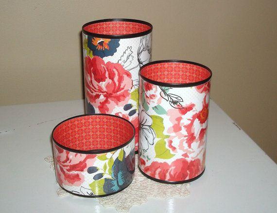 floral desk accessories pencil holder desk by makingtimetc tin