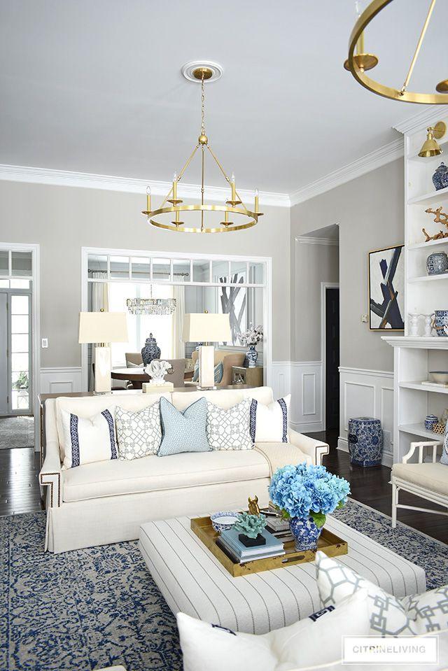 Spring Living Room Decorating Blue