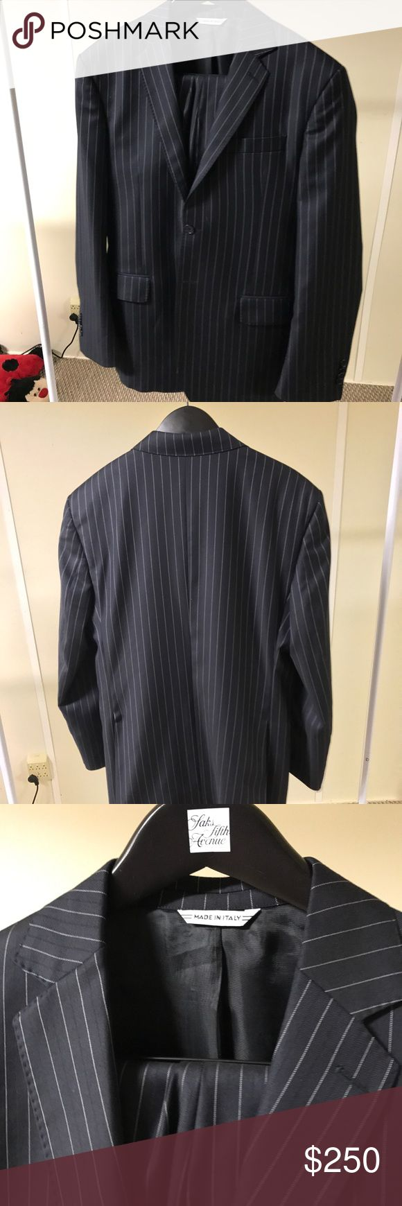 Men's Italian Yves Saint Laurent Navy Suit Made in Italy, Navy Blue with White pin stripes, pick sticking on Notch Lapel, double Vent 2 Button. Flat front pants (32r x30) IT50r US40r Yves Saint Laurent Suits & Blazers Suits
