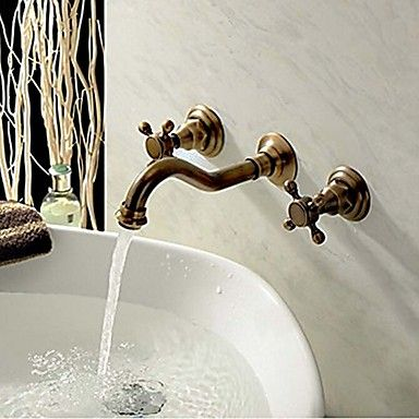 Two Handle Wall Mount Antique Inspired Solid Brass Bathroom Sink Faucet http://www.tapso.co.uk/two-handle-wall-mount-antique-inspired-solid-brass-bathroom-sink-faucet-p-137.html