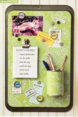 old cookie sheet, soup can, and bottle caps;  maybe paint the cookie sheet, make the background panel out of scrapbook paper; use fun buttons, dice, scrabble letters, or other nature-themed bobs to glue onto the magnets instead of bottle caps.