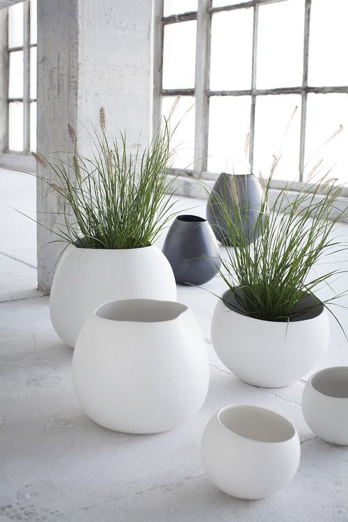 oversized eggshell shaped planters | New Serax Potteries Collection | contemporary Easter | Spring