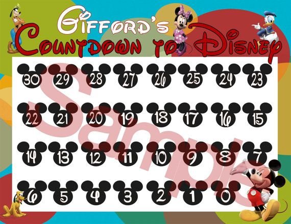 Countdown to Disney CalendarsMickey and by KristysKuteKreations, $10.00