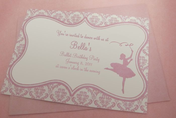 Free ballet party printables - pink and white damask.