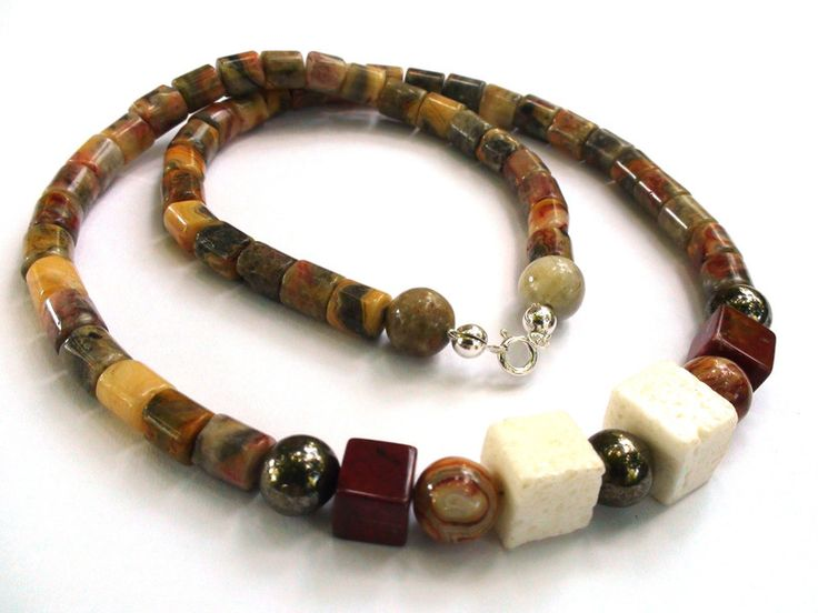 Mens Necklaces – Modern silver necklace with Agate, Pyrite, Jasper – a unique product by OlgaJewelryBoutique on DaWanda