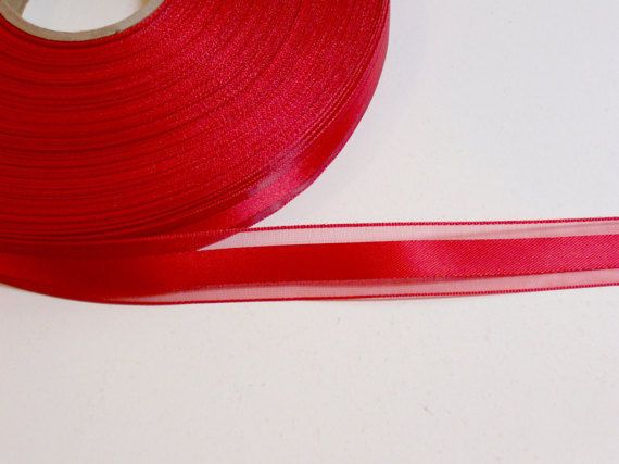 Schiff Ribbon Metallic Gold Edge Sheer Red Organza Ribbon 5//8 inch x 10 yards