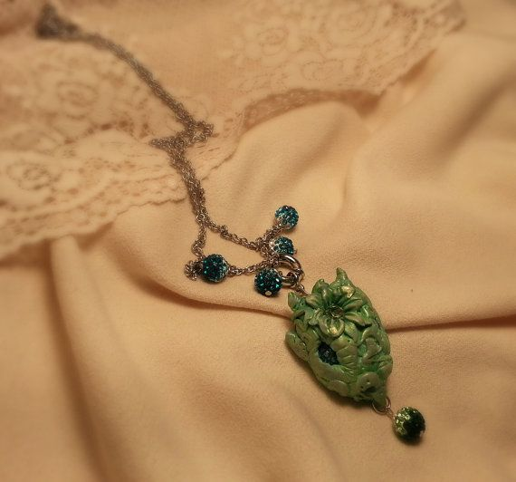 Dragon head Necklace, green with rhinestone beads