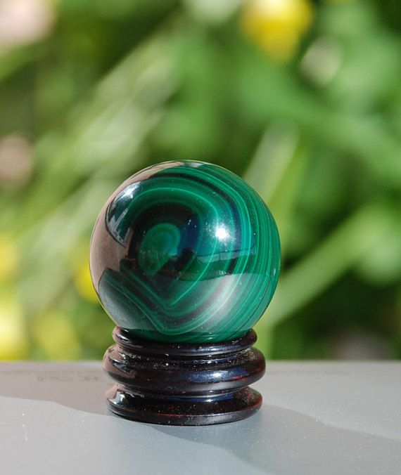 Malachite Sphere Goddess Stone Crystal Healing by TherapyStonesOne