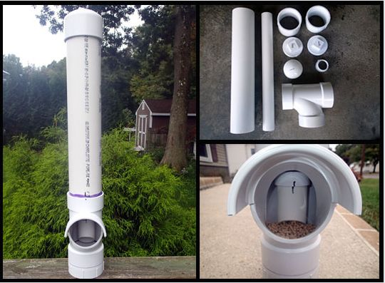 How To Build A DIY PVC Self Feeding Chicken Feeder - Cheap & easy to make with off-the-shelf PVC pipe & connectors.